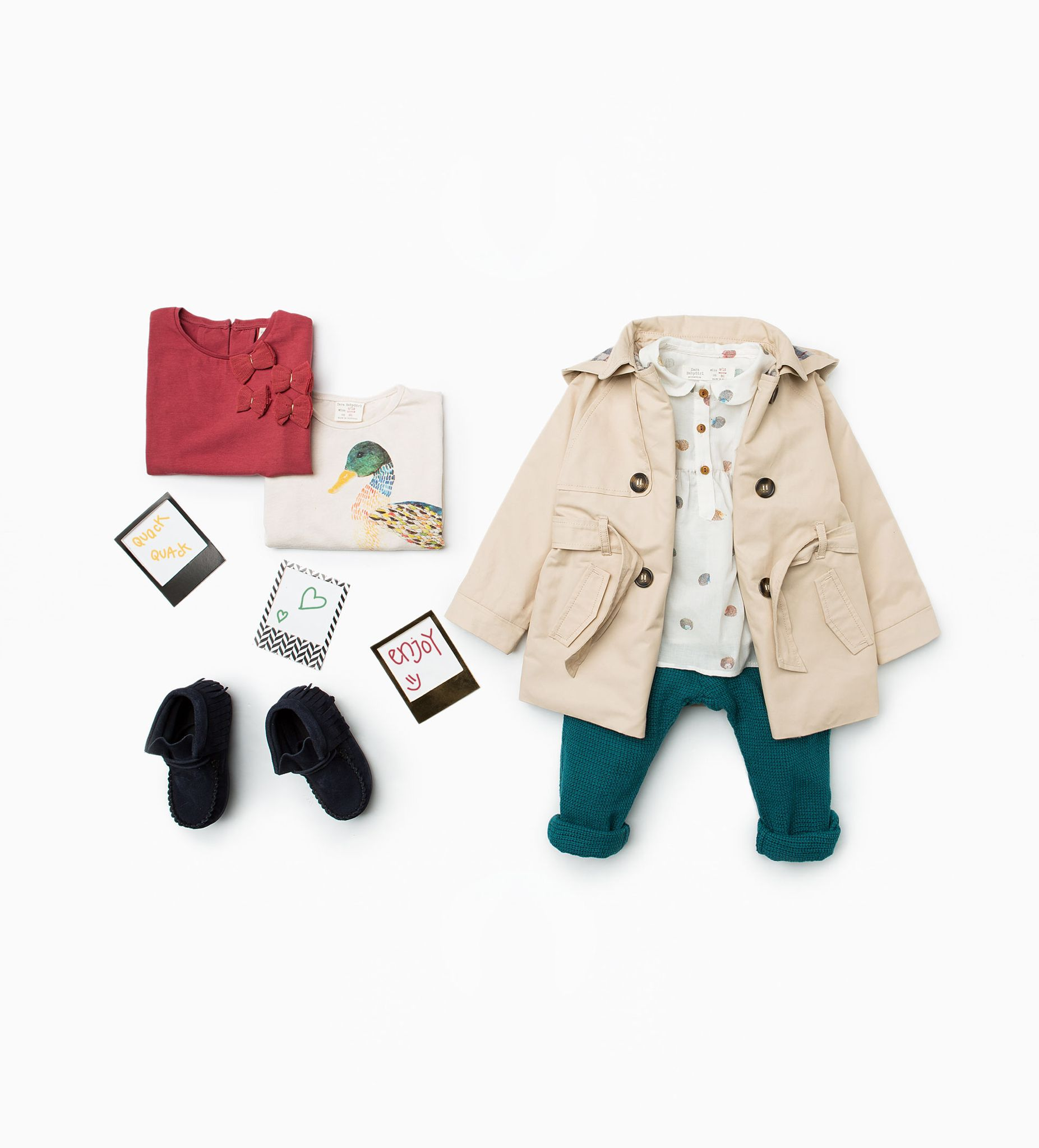 Zara Little Girls Trench Coat With Hood Trousers And