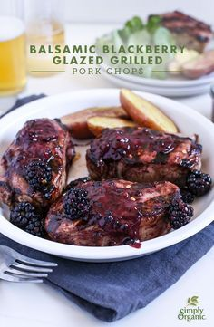 Sweet and spicy, this Balsamic Blackberry Glaze gives grilled pork chops an easy summer update.   via Simply Organic