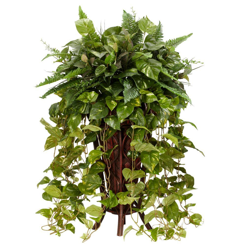 in h green vining mixed greens with decorative stand silk plant