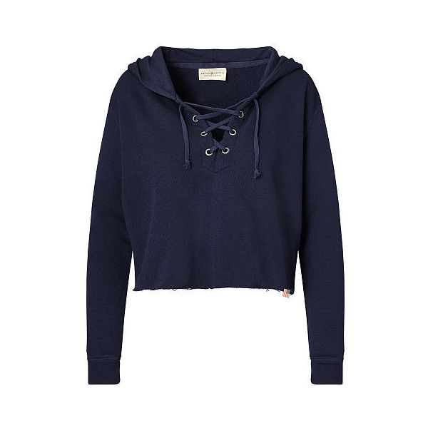 9ad4bf8e643252 Long sleeve crop top · Ralph Lauren Denim   Supply French Terry Lace-Up  Hoodie ( 55) ❤ liked