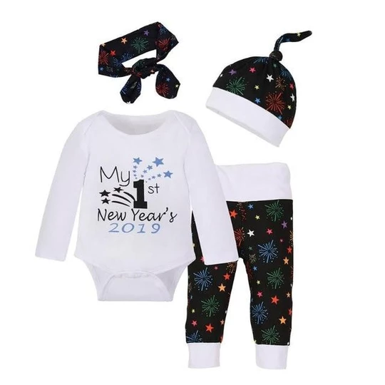 Unique Baby Unisex My First New Years Onesie Pant Set Outfit