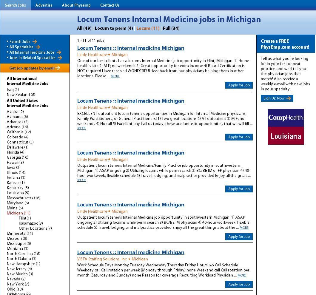 Locum internal medicine jobs in michigan physician jobs