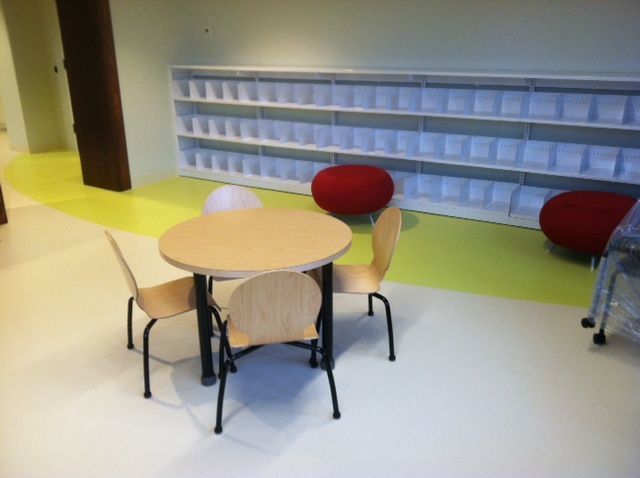 TMC Lorca Table and chairs in front of MJ industries system 30 shelving and Allermuirs Pebbles.  For more information contact us at www.jpjay.com