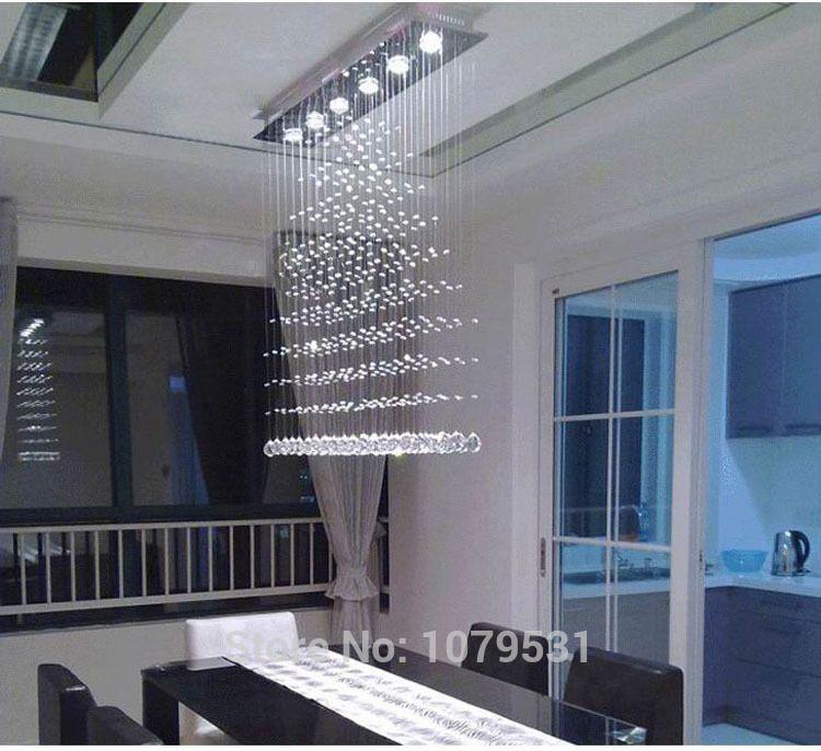 3 5 6 Heads Modern Crystal LED Ceiling Lights Fixture Rain Drop Curtain Lustre