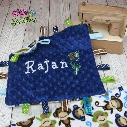 Blue monkey personalised baby plush comforter taggie blanket blue monkey personalised baby plush comforter taggie blanket negle Gallery