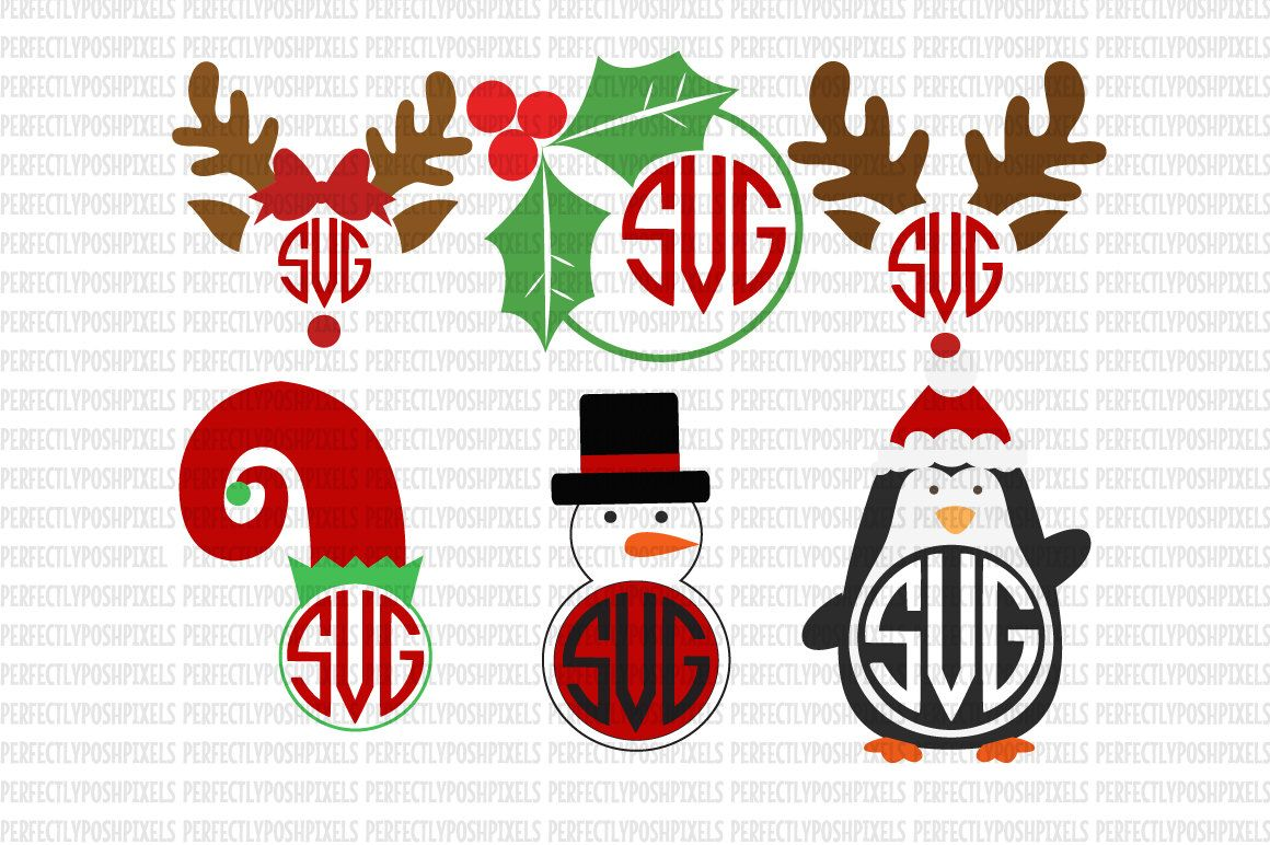 Christmas Monogram Reindeer Monogram Snowman Elf SVG Holly