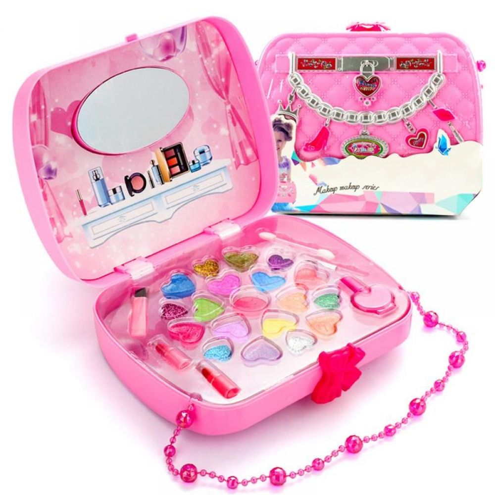 Make Up Toy Pretend Play Kid Makeup Set Safety Non Toxic Makeup Kit Toy For Girls Dressing Cosmetic Travel Box Girl Makeup Kit For Kids Kids Makeup Beauty Kids