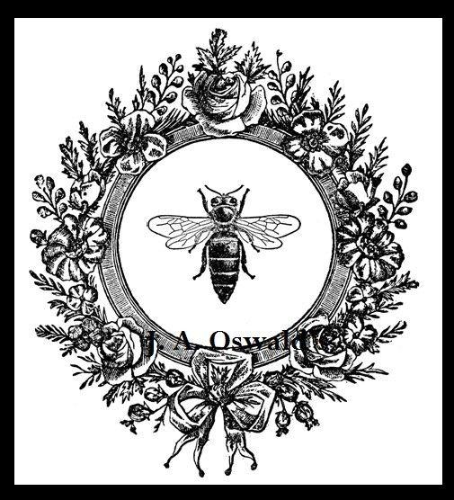 Bee In Flower Wreath Digital Image Download Sheet Iron On