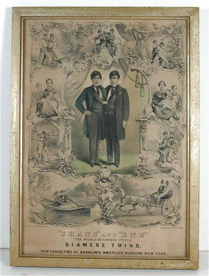 The Original Siamese Twins, Chang & Eng. 1860 poster for appearance at Barnum's American Museum.