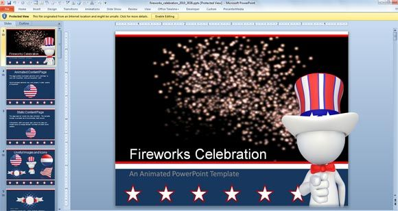 Animated Fireworks Powerpoint Template For Celebration Powerpoint