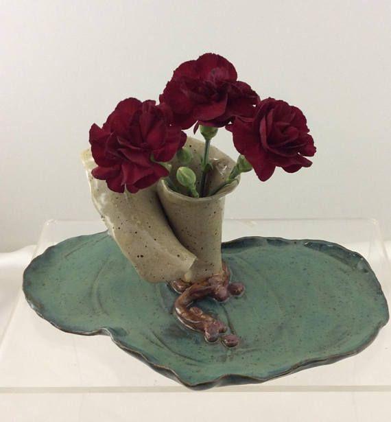incense burner small flower vase candle holder lily pad design