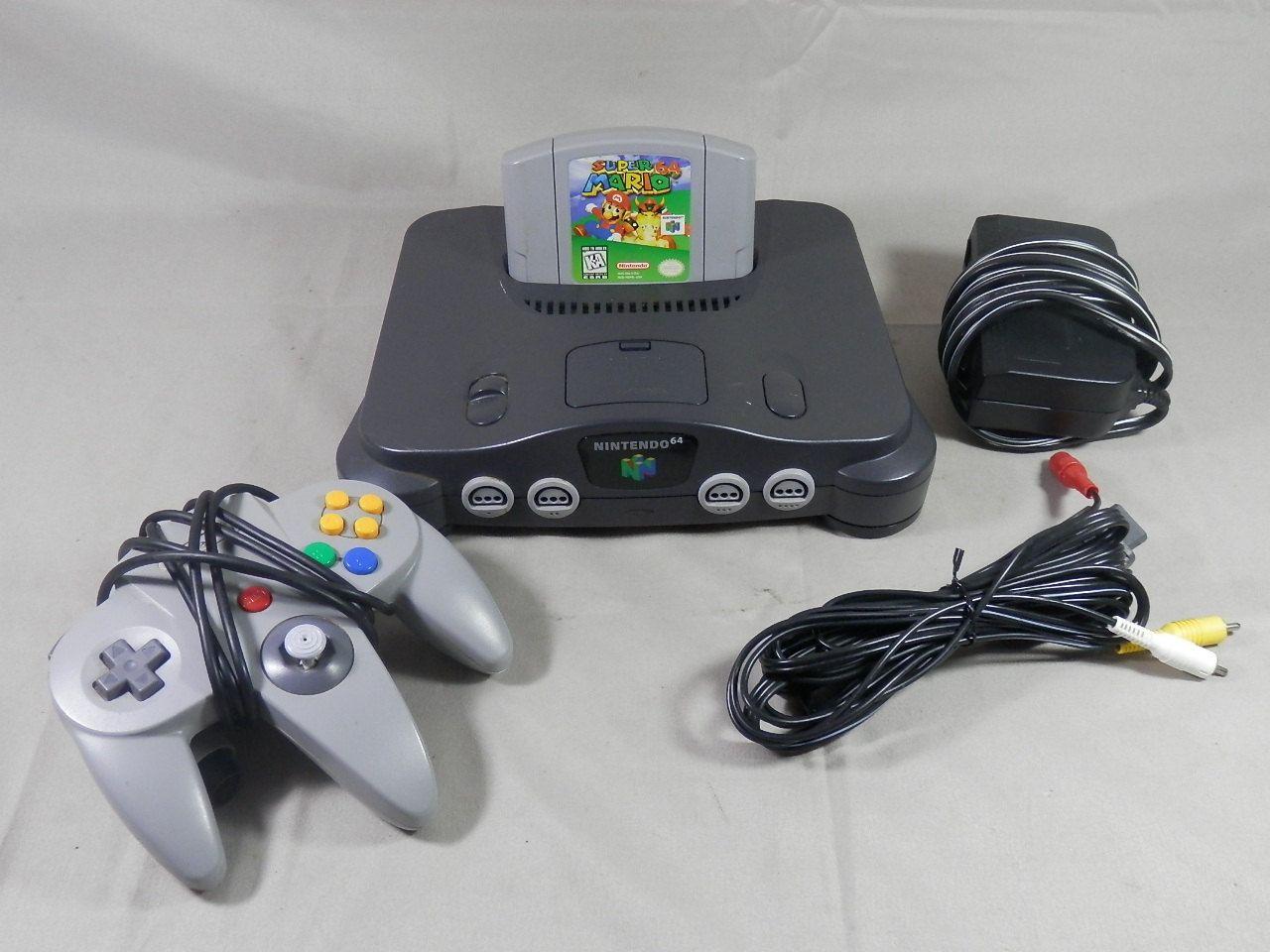 Vintage nintendo 64 console bundle super mario 64 1 controller power cord av cord n64 system - Super nintendo 64 console ...