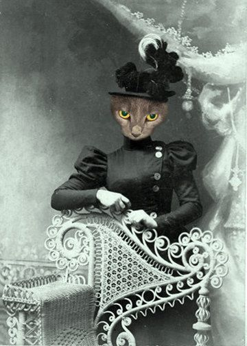 Miss Quigly Vintage Cat Animal In Clothes Whimsical Art Print