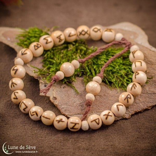 bracelet de prière runique (ancien futhark), perles en bois