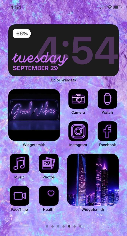 Purple iOS 14 App Icon Pack   Neon Aesthetic iOS 1