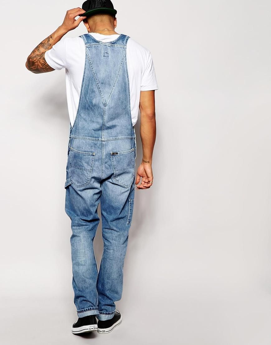 9ac7ae48 Lee   Lee Dungaree Jeans Straight Fit Spring Journey Mid Wash at ASOS