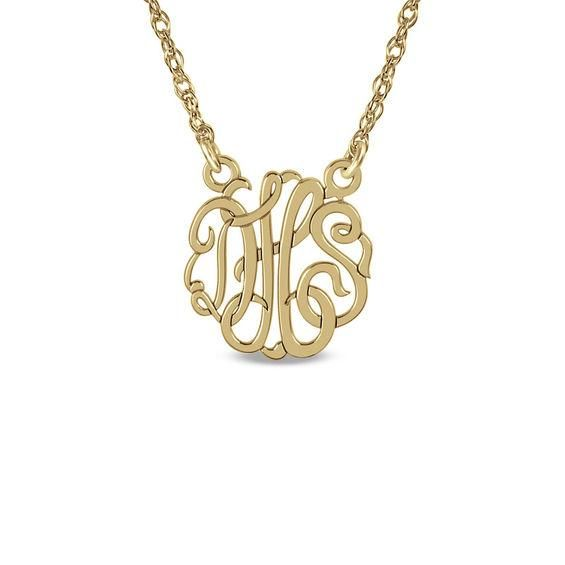 Zales 25mm Monogram Necklace in Sterling Silver with 14K Gold Plate (3 Initials) 2z6DaSOG