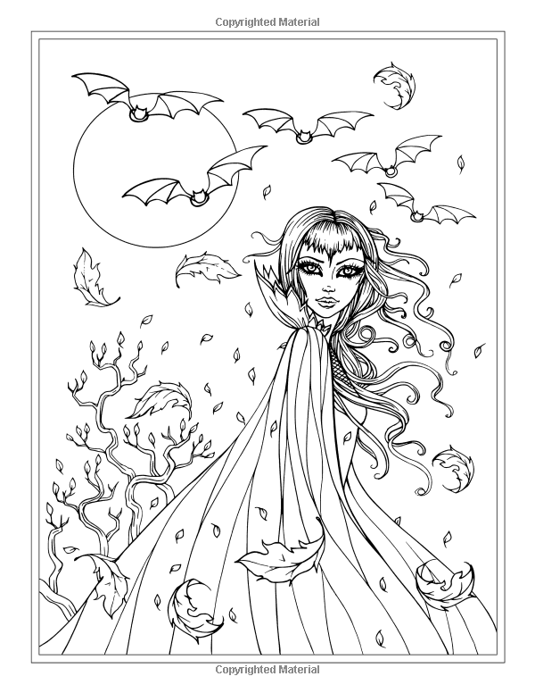 Coloring Pages For Halloween Witches : Autumn fantasy coloring book halloween witches vampires and