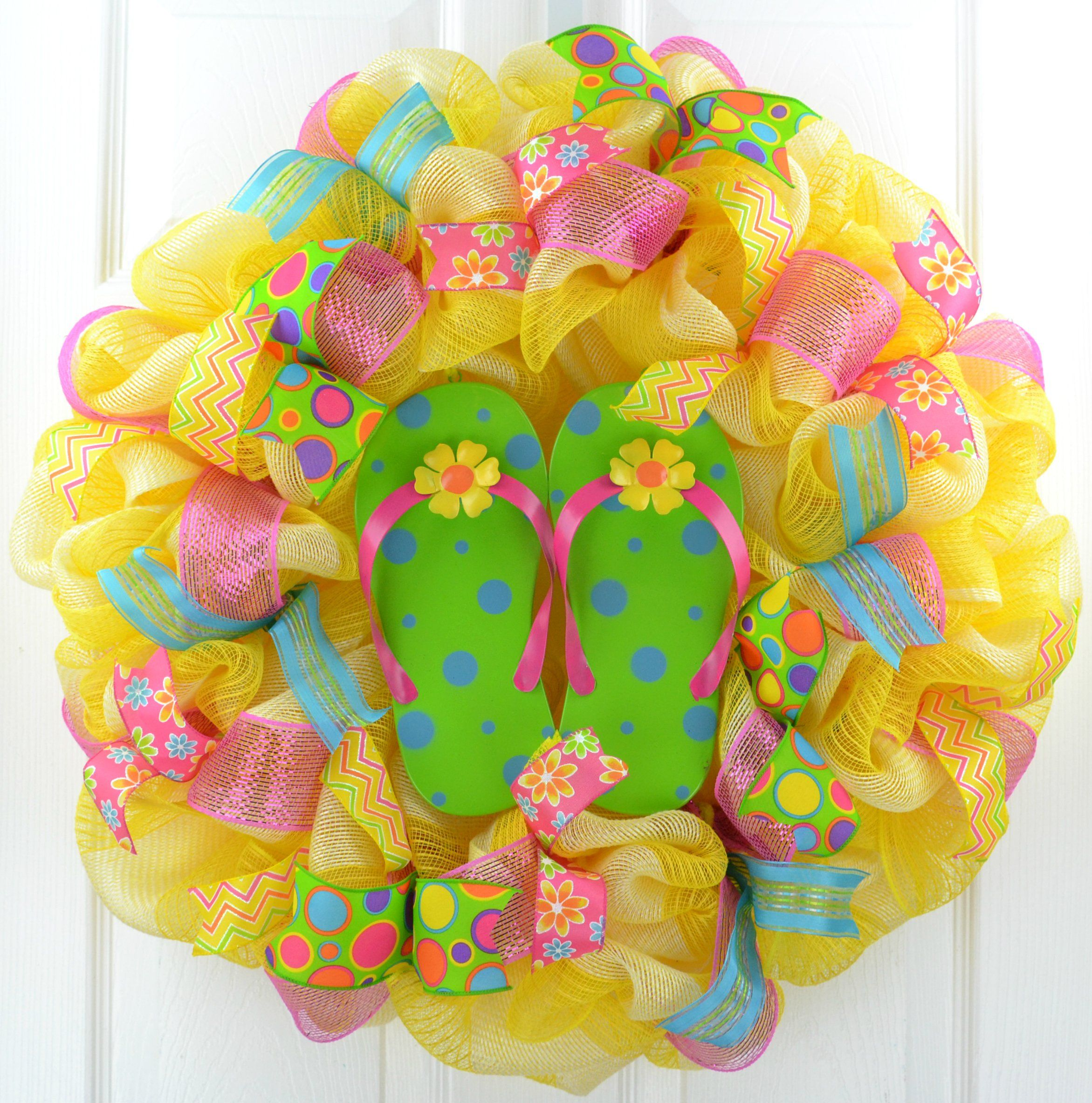 014017e22 Yellow Summer spring flip flop welcome deco mesh wreath  Lime Green Pink  Turquoise  Handmade