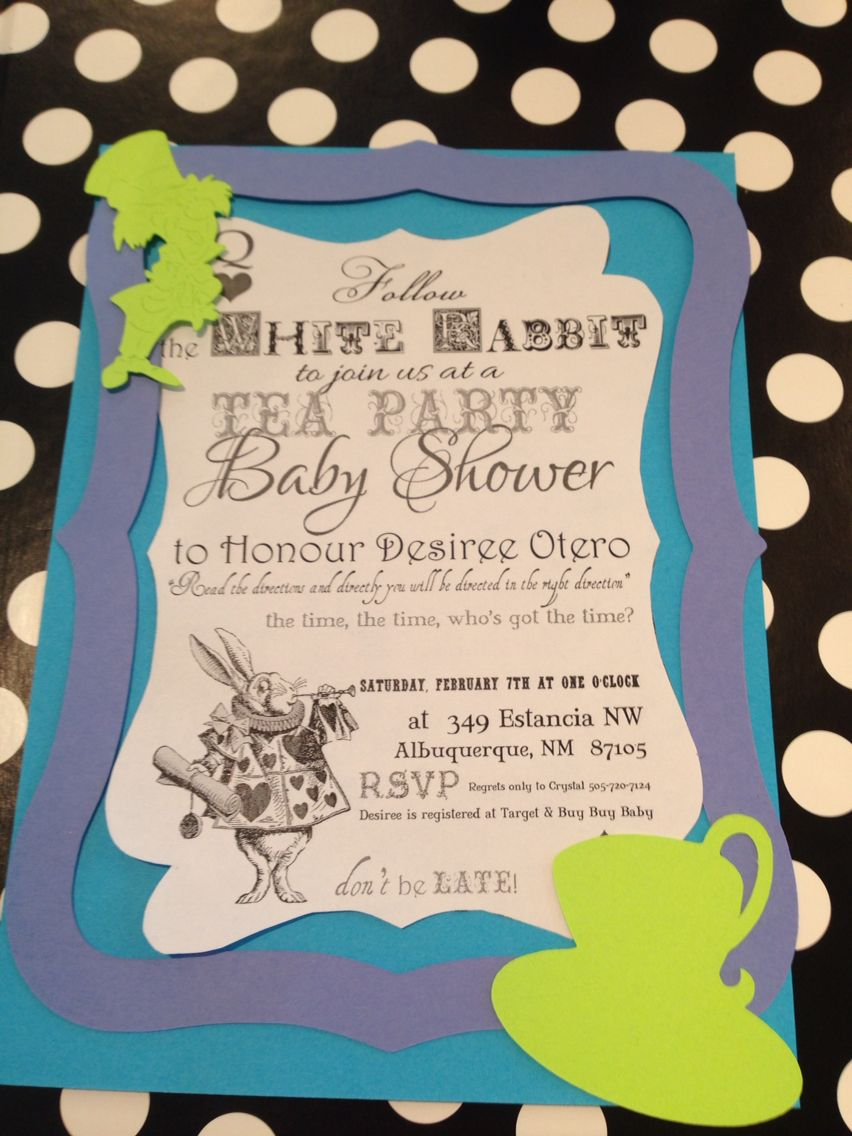 mad hatter teparty invitations pinterest%0A Mad Hatter tea party baby shower invitation