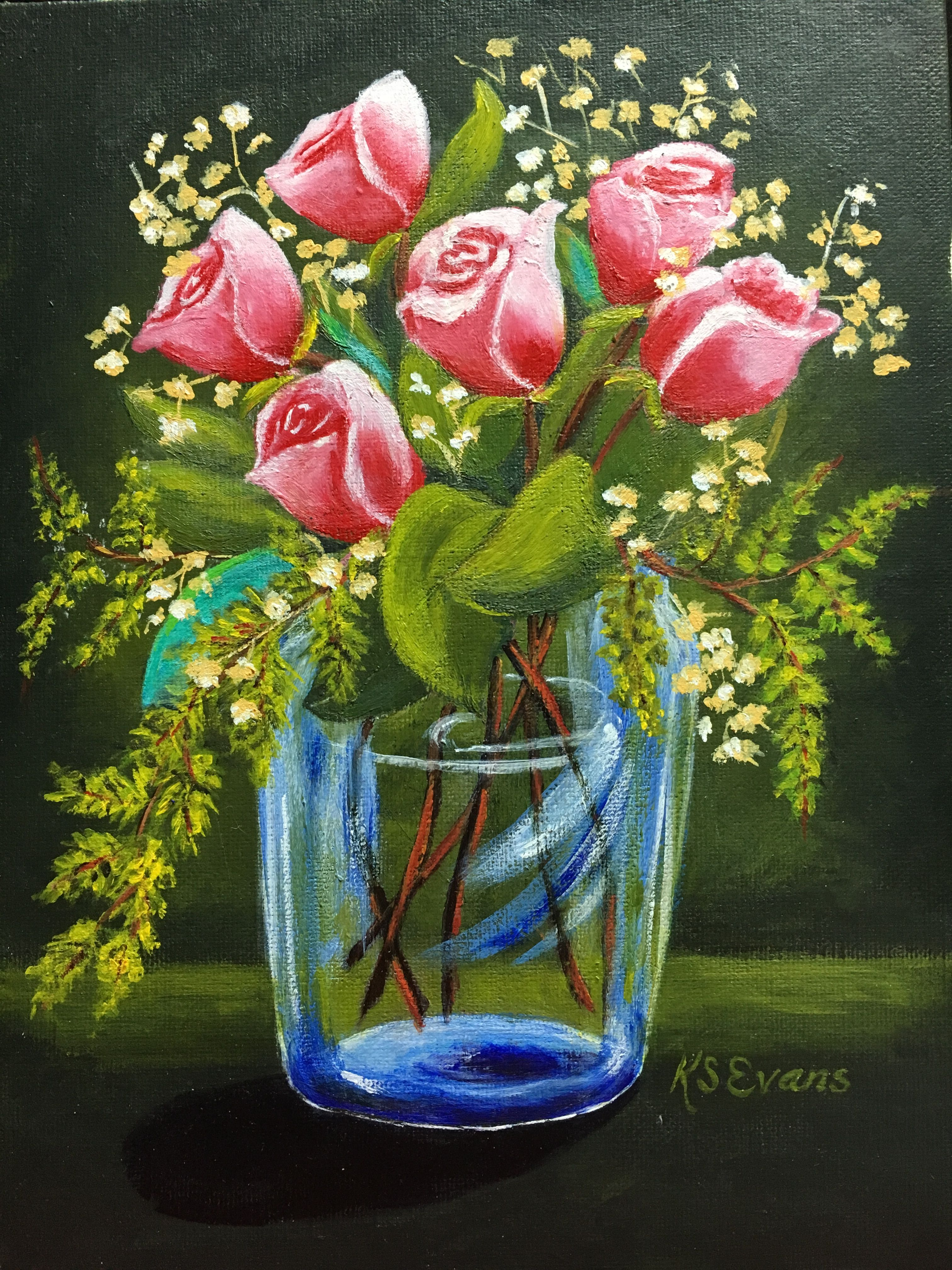 Pink Roses Ina Glass Vase By Kathy Evens Very Lovely Kathy