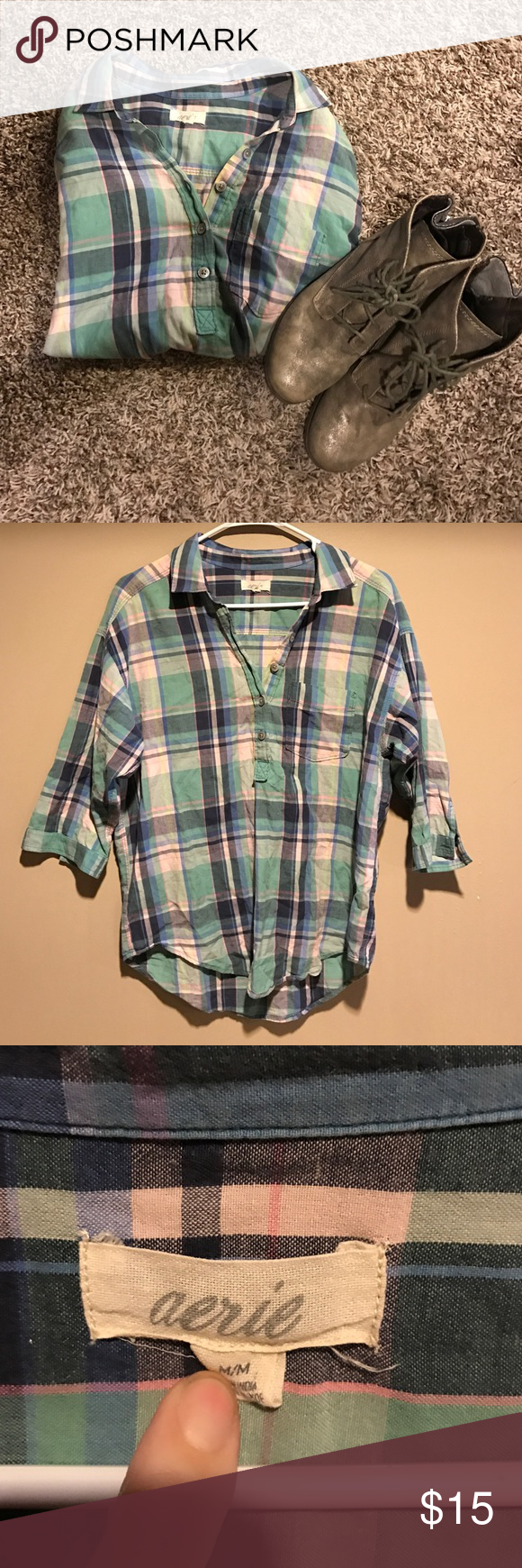 Flannel shirts yellow  Aerie flannel shirt Aerie flannel shirt with  length sleeves
