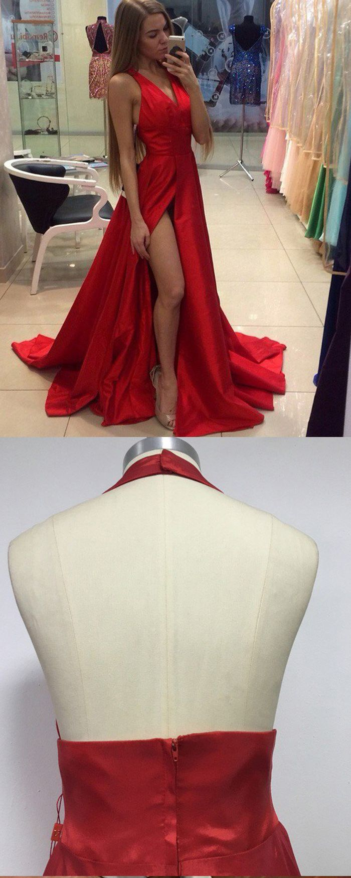 Vneck satin red simple long prom dress with front slit pm