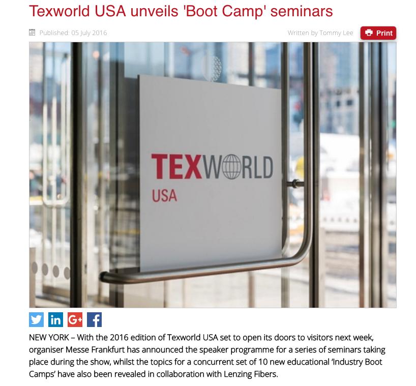 Texworld USA unveils 'Boot Camp' seminars