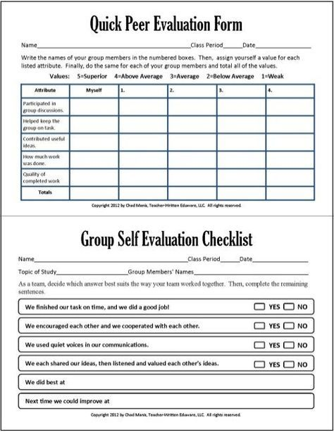 Cooperative Learning This free PDF packet includes documents for - self evaluation form