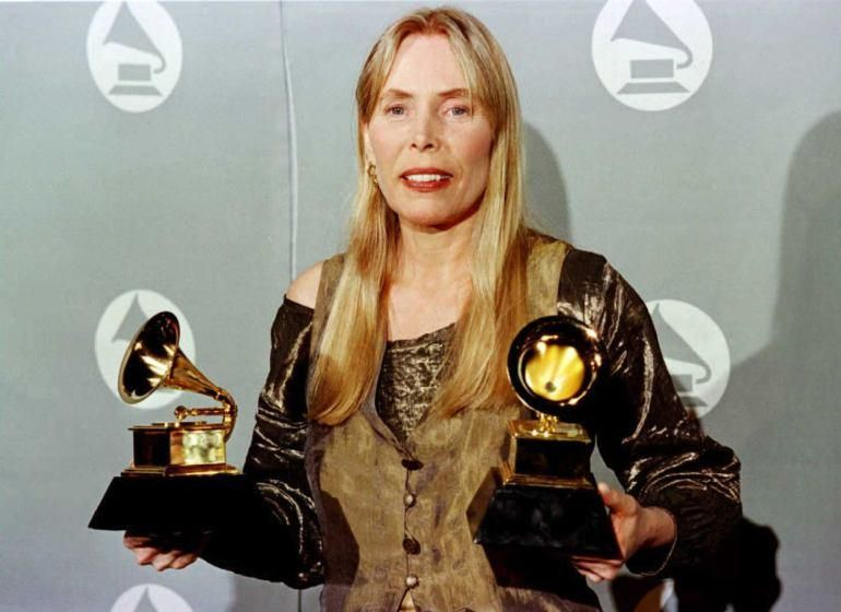 Joni Mitchell awarded for Best Pop album at 38th Annual Grammy Awards in Los Angeles.