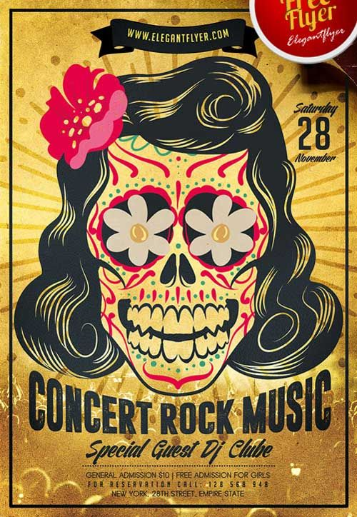Rock Concert Free Psd Flyer Template  Freebies  Printables