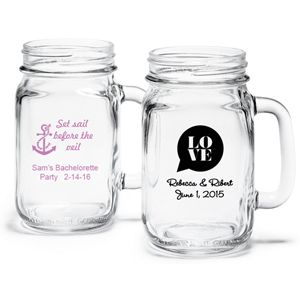 Wedding Words Personalized Mason Jar Drinking Gl