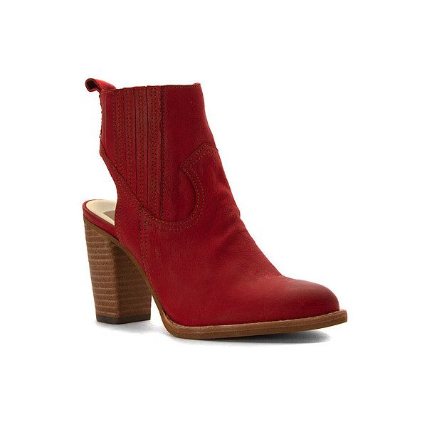 Dolce Vita Jasper ($96) ❤ liked on Polyvore featuring shoes, boots, ankle booties, red nubuck, ankle boots, red ankle boots, western boots, red booties and cut out booties