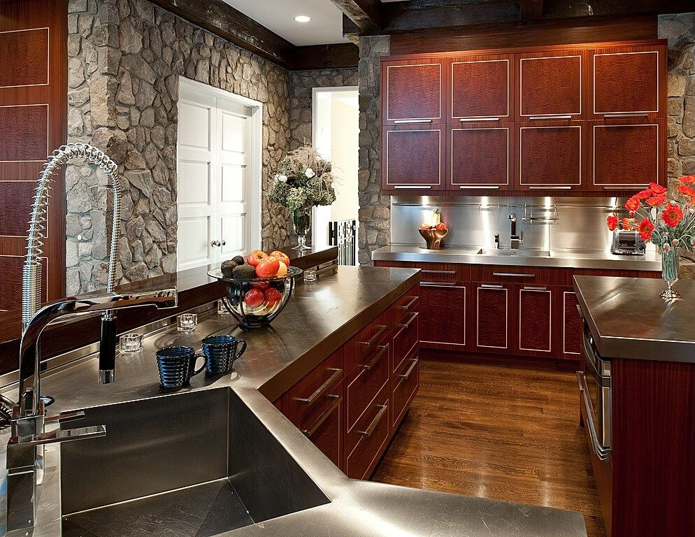 40 Magnificent Kitchen Designs With Dark Cabinets  Metal Simple Cherrywood Kitchen Designs Design Ideas