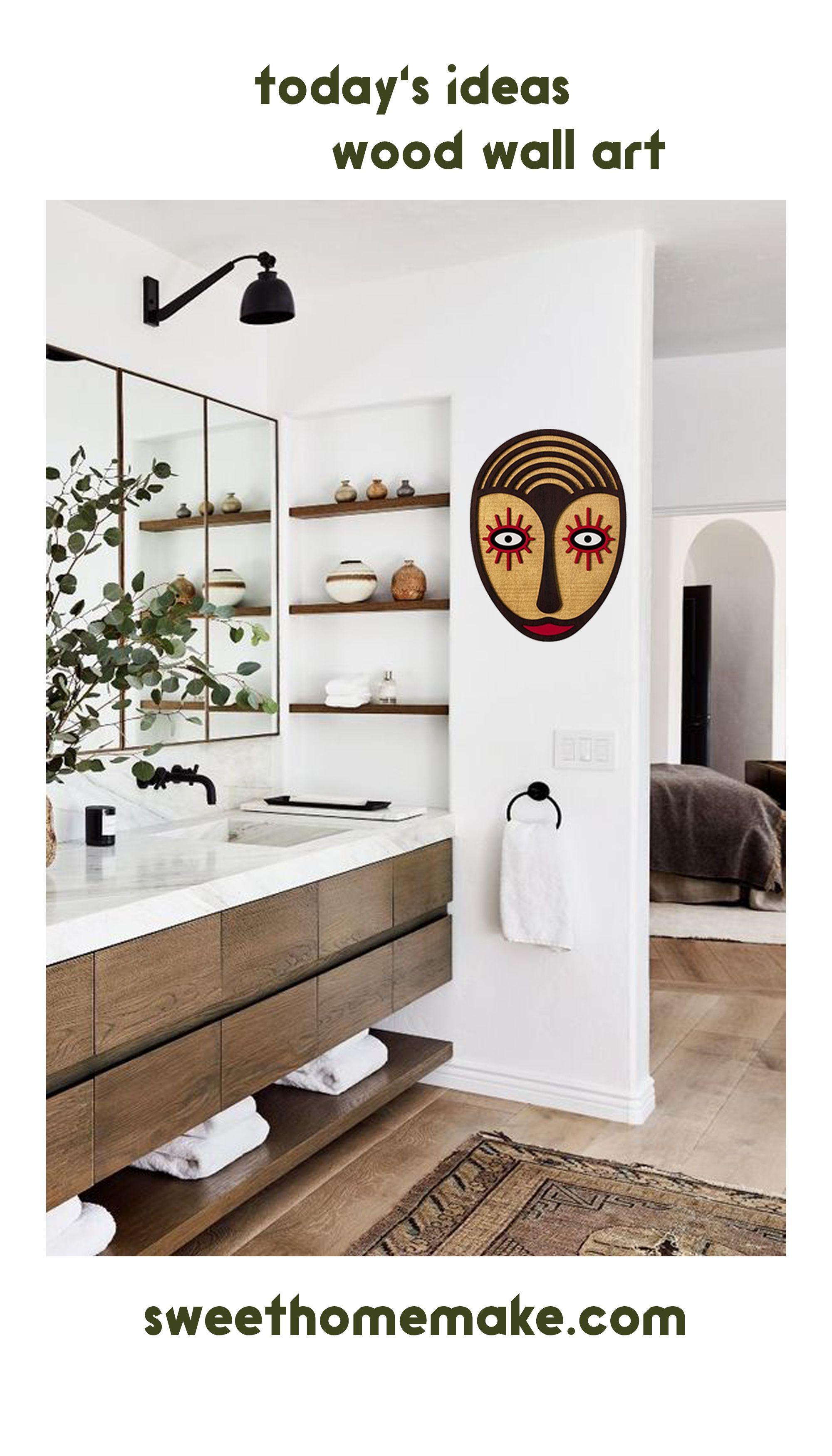 Handmade Creative Boho Wall Art With Wooden Bohemian Home Decor Bathroom Design Decor Modern Bathroom Design Bathroom Wall Decor