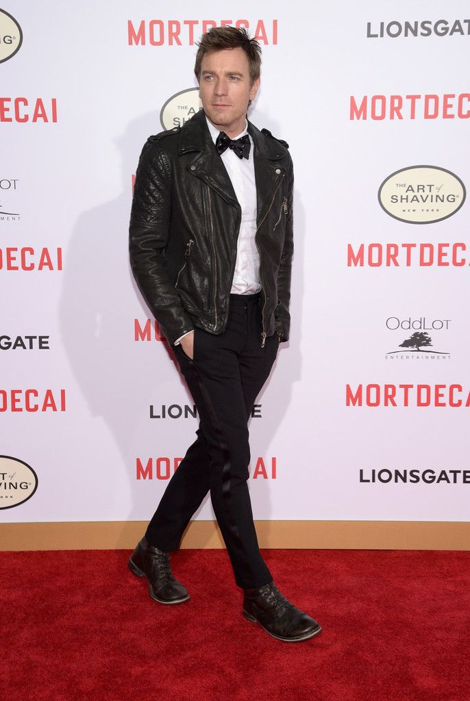 Ewan McGregor Wears Neil Barrett Leather Biker Jacket to Mortdecai Premiere