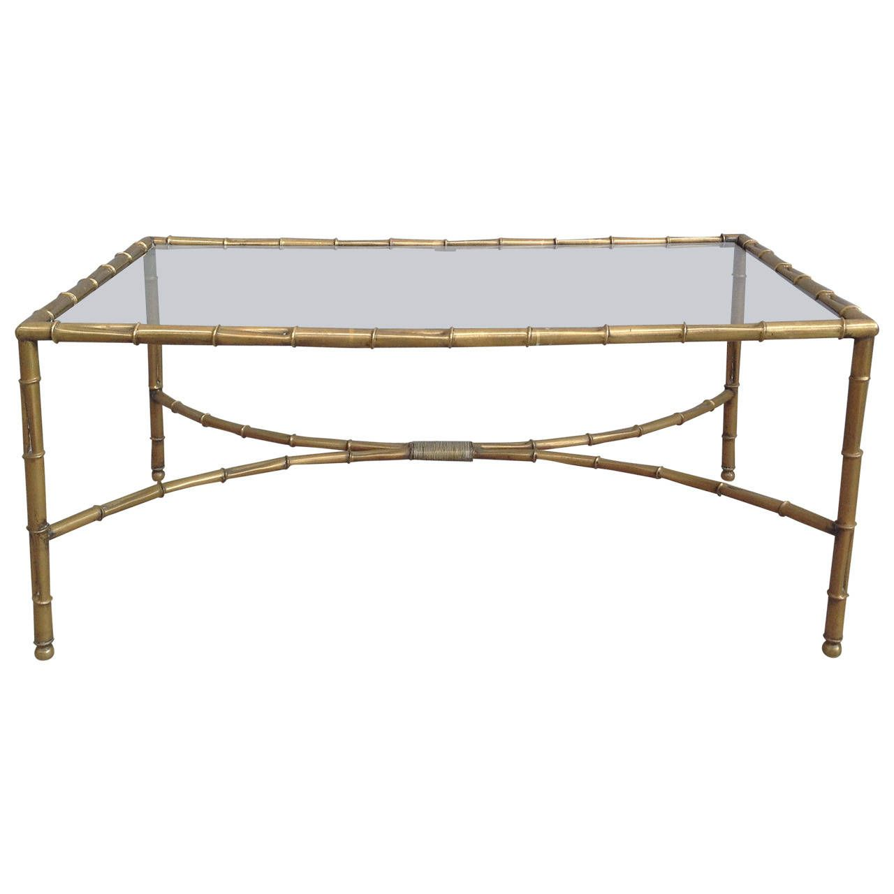 brass and faux bamboo coffee table attribuited to maison bagues