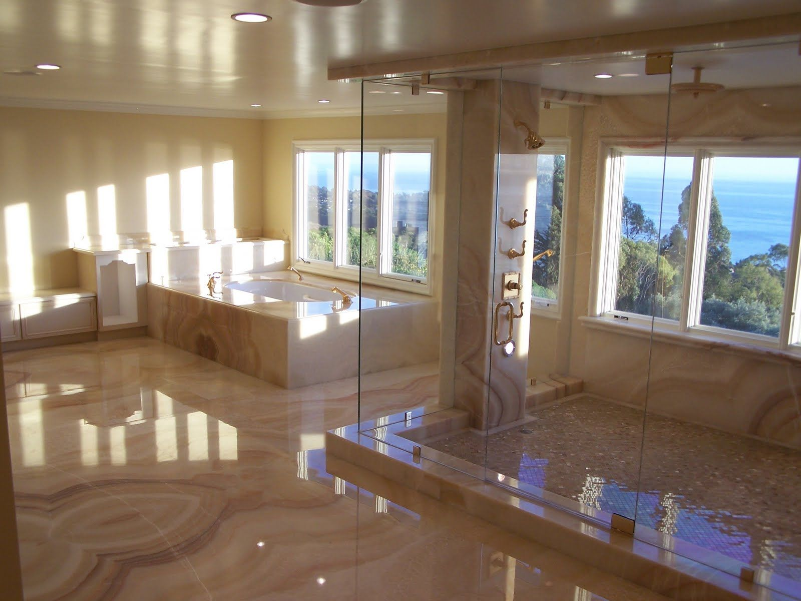 view bathroom ideas%0A Bathroom Interior   Awesome Pictures Of Big Bathroom Designs With Luxurious  Furniture  Outstanding Beige Marble Tile On Big Bathroom Designs With White  Tub