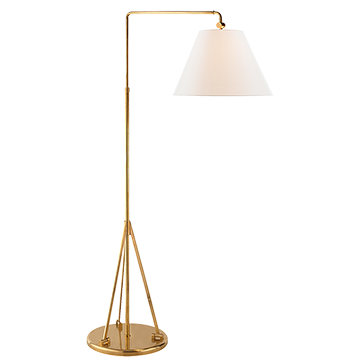 Brompton Swing Arm Floor Lamp In Natural Brass With Linen Shade