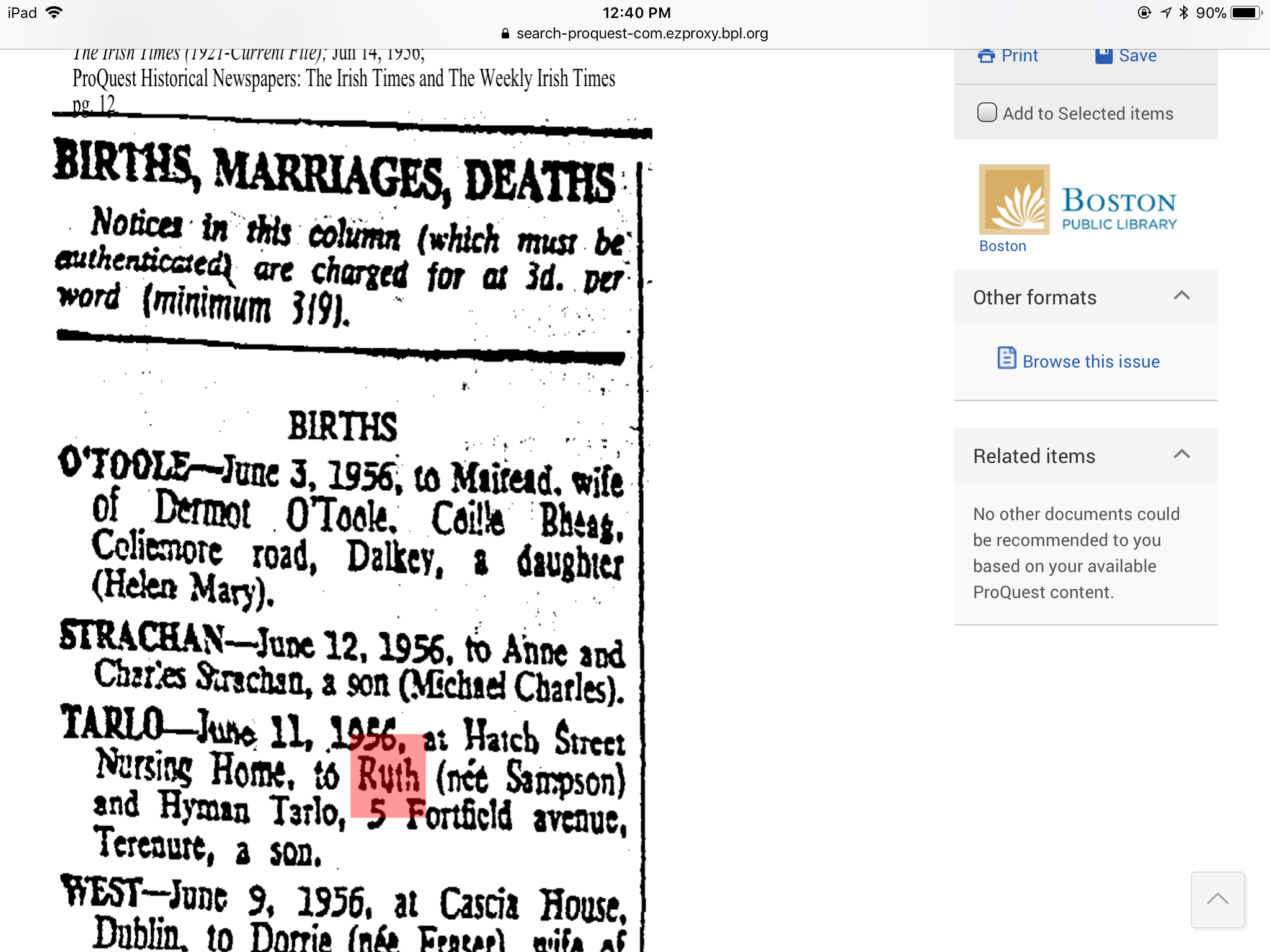 Birth Of Son To Ruth Tarlo The Irish Times Dublin Ireland Page 12 Jun 14 1956 Historical Newspaper Irish Times