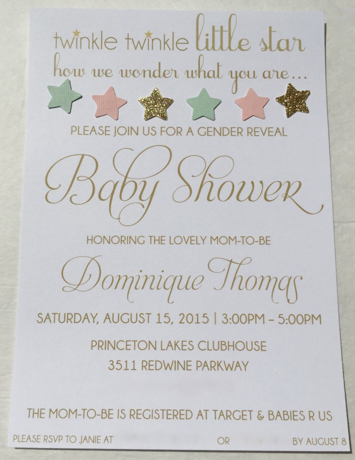 Gender Reveal Baby Shower Party Invitation Mint Light Pink Peach Gold  Glitter Twinkle Twinkle Little Star