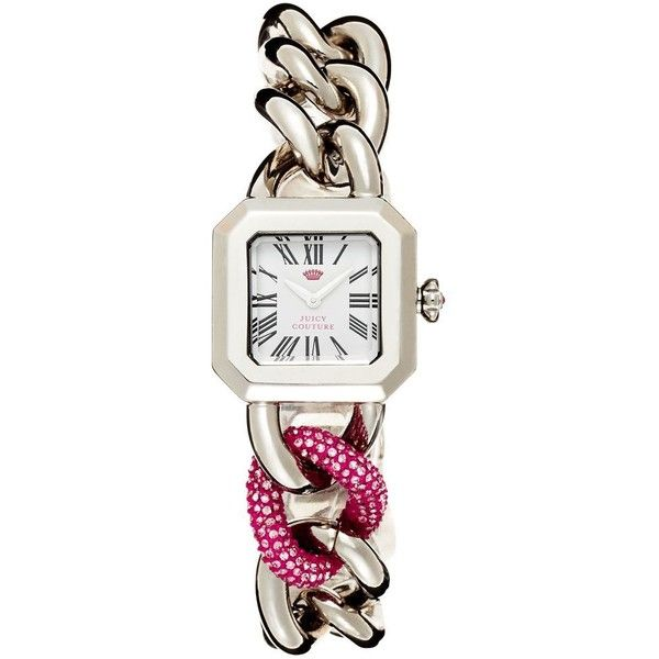 Juicy Couture Silver Bracelet Watch ($295) ❤ liked on Polyvore featuring jewelry, watches, silver, silver watches, silver jewelry, silver wrist watch, polish silver jewelry and bracelet watch