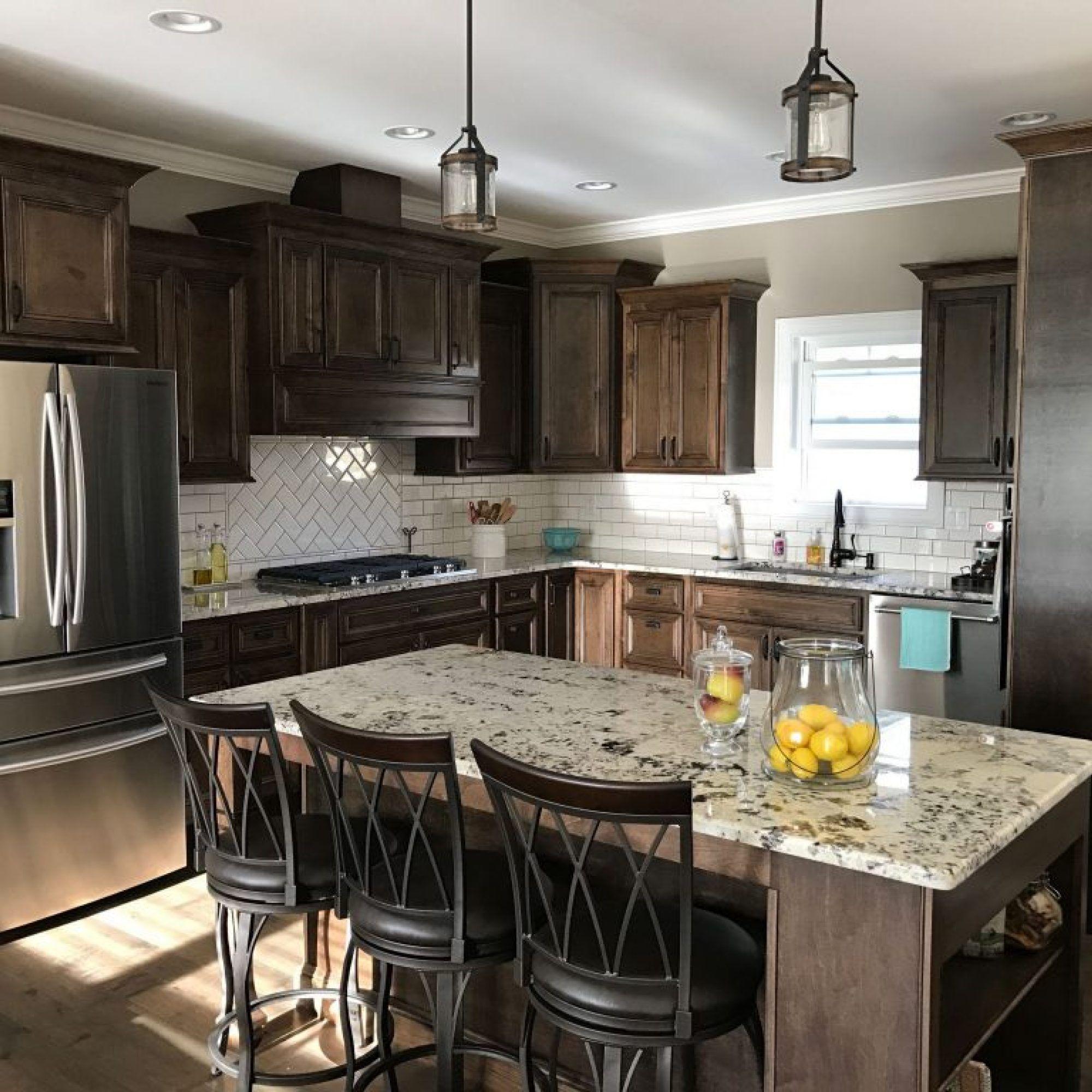 kitchen backsplash with dark cabinets light granite the story rh pinterest com