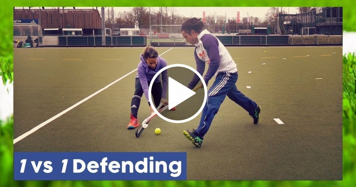 1 Vs 1 Defending Tutorial Field Hockey Technique Field Hockey Hockey Field