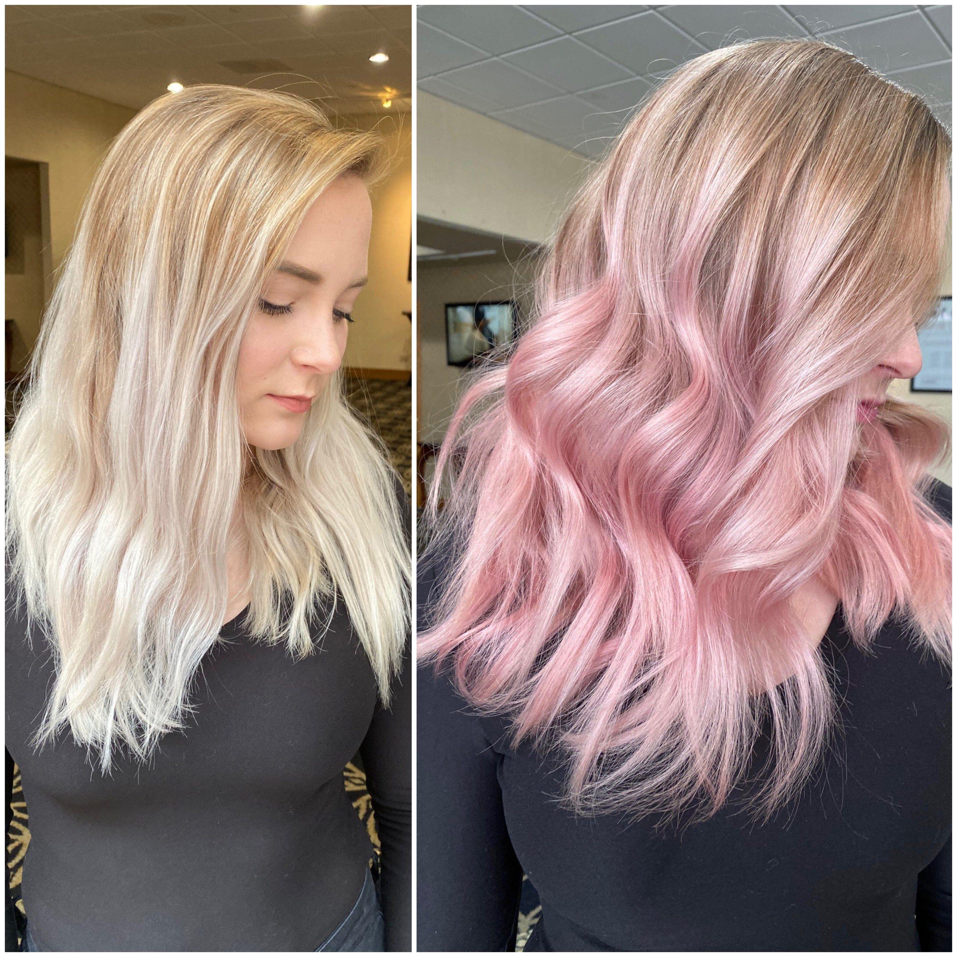 Easy Peasy To Pastel Pink Pale Pink Hair Pink Blonde Hair Blonde With Pink