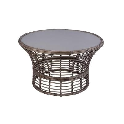Hampton Bay Cane Crossing All-Weather Wicker 44 in. Round Patio Chat Table with Painted Glass Top -153-105-44CT - The Home Depot