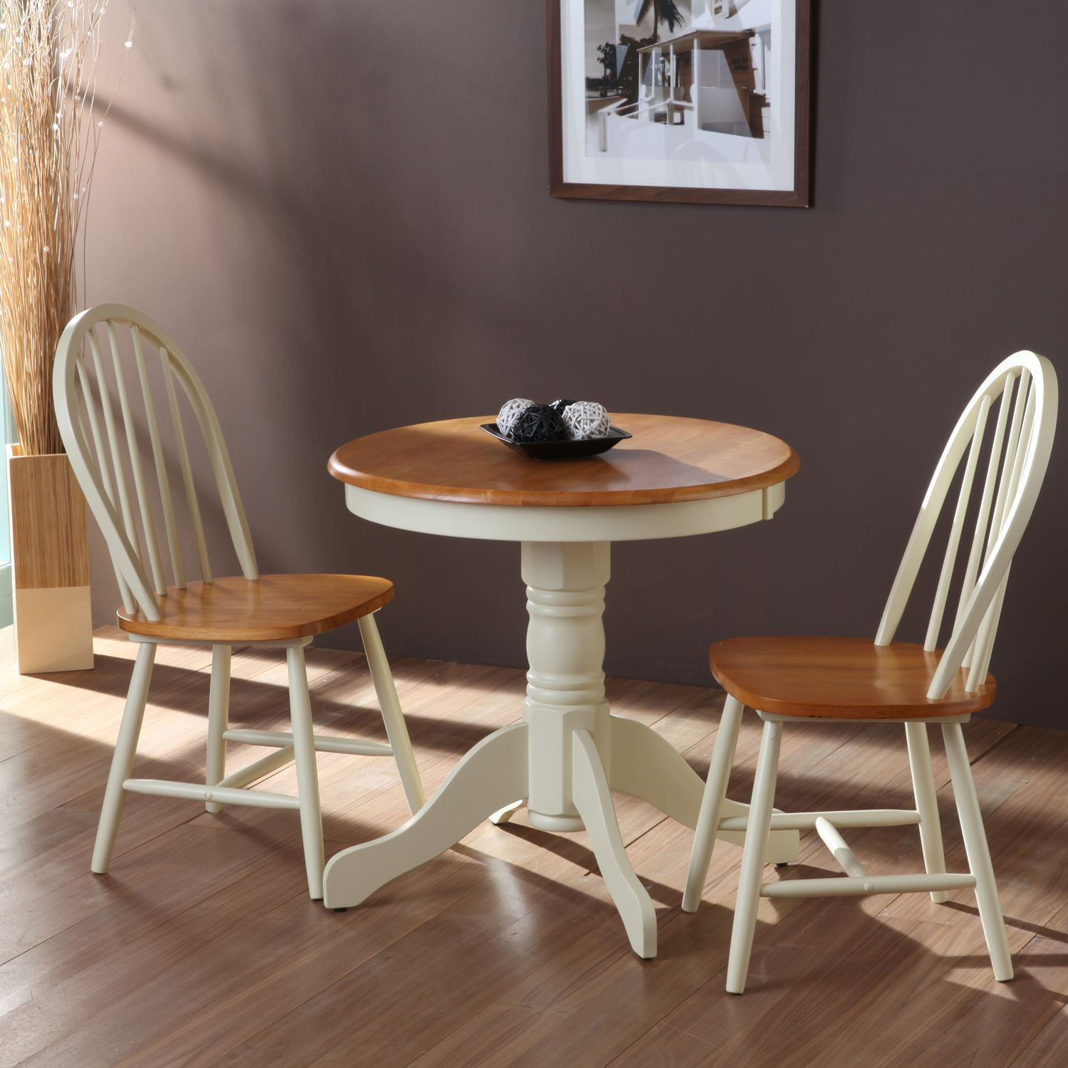 Astonishing White Pedestal Round Dining Table And 2 Windsor Dining Chairs On Laminate Wo Round Dining Table Small Wooden Table And Chairs Windsor Dining Chairs