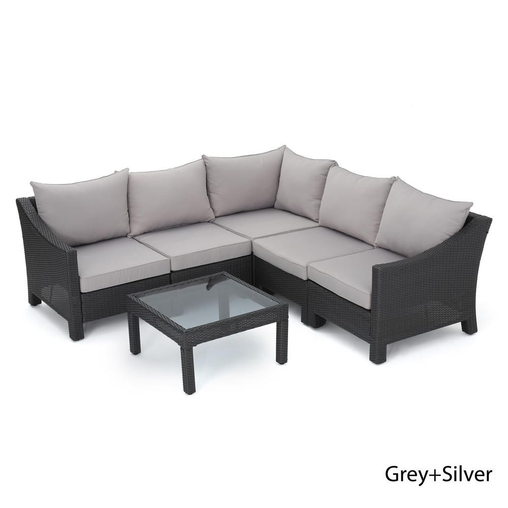 Noble House Antibes Grey 6 Piece Wicker Outdoor Sectional Set With Silver Cushions 12152 Outdoor Sofa Sets Sofa Set Patio Furniture Sets