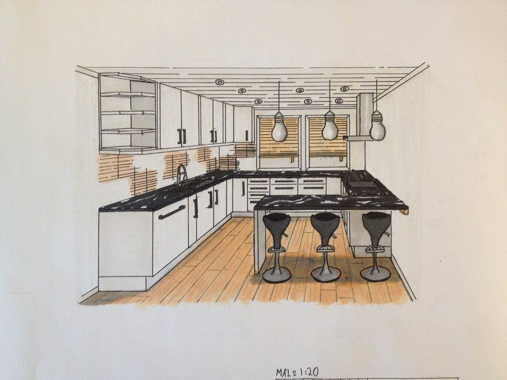 One point perspective living room drawing - I Go To School Where We Work With Only Interior And Interior Design We Had A Task About Kitchen We Was Tol Interior Kitchen 1 Point Perspective