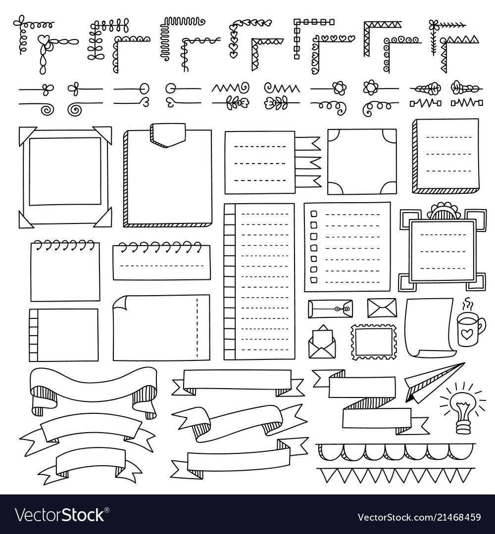 Set Of Bullet Journal Doodle Elements Royalty Free Vector